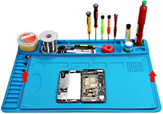 Meknic Silicone Repair Mat Anti Static 18.9 x 16.17 Inches Electronics Heat Insulation Magnetic Repair Work Mat with Scale Ruler and Screw Position, Large Silicone Repair Mat (SRM02 Kit)