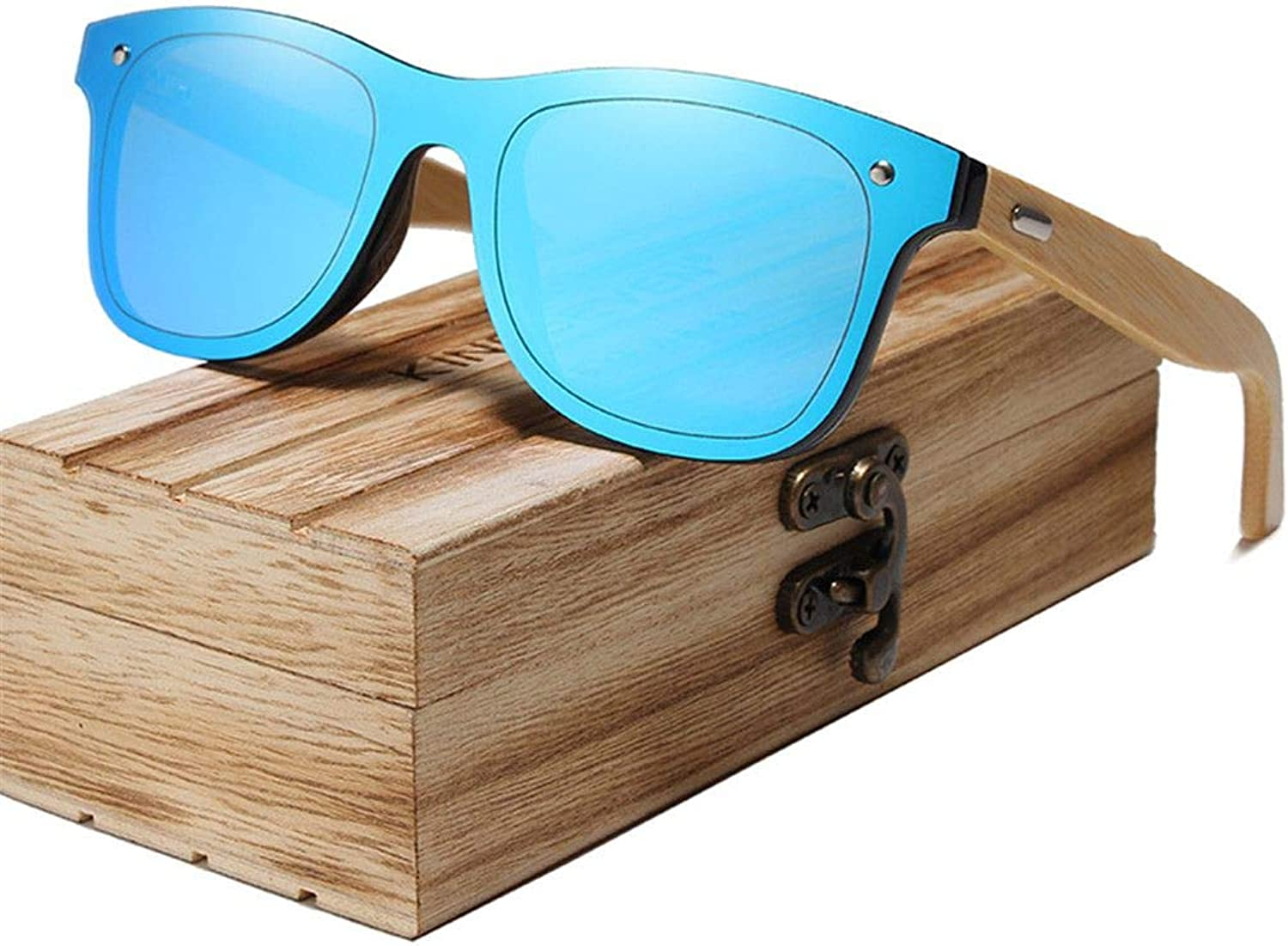Bamboo Polarized Sunglasses Men Wooden Sun glasses Women Brand Original Wood Glasses bluee bamboo