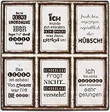 6 Schilder Magnete - Unordnung - keine Ahnung - hübsch - Leben - Schokolade -...