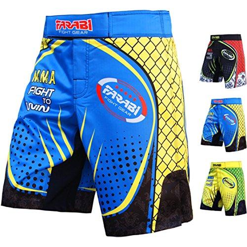 Farabi F2W MMA Shorts Kick Boxing Muay Thai Training Match Fight Short (Blue Yellow, Small)