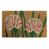JVL Garden Themed Latex Backed Natural Coir Entrance Door Mat Flower Design, Brown, 45 x 75 cm