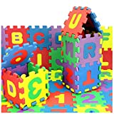 QUYUON Foam Puzzle Mat, 36 Piece Set Interlocking Alphabet and Numbers Floor Puzzle Colorful EVA Tiles for Girls Boys, Reusable, Easy to Clean, Ideal of Educational Matching Game (4.7 x 4.7 Inches)