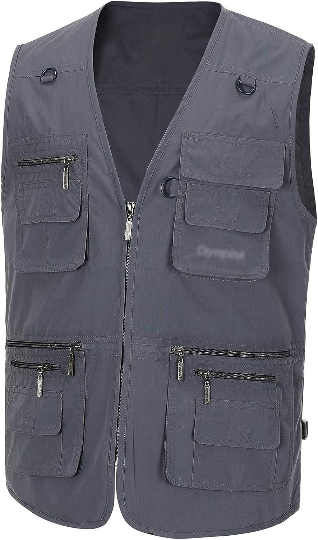 Spanye Men's Fishing Vest Alive Outerwear Multi-Pocket Vests Casual Work Sleeveless Jacket