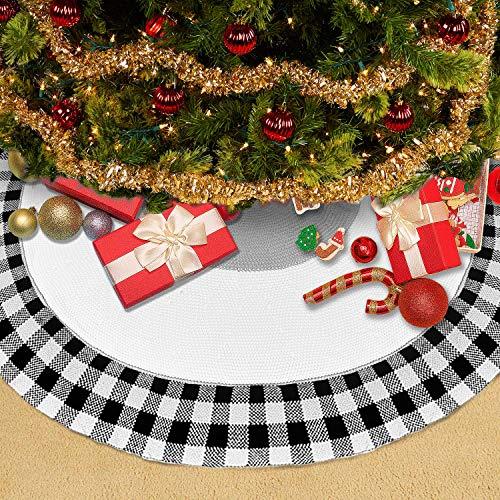 Vertvie Stricken Weihnachtsbaum Röcke Christbaumdecke Rund Faltende Teppich Decke Weihnachtsbaum Deko Weihnachtsschmuck für Weihnachts Party 120cm(Schwarz weiß, 122cm)