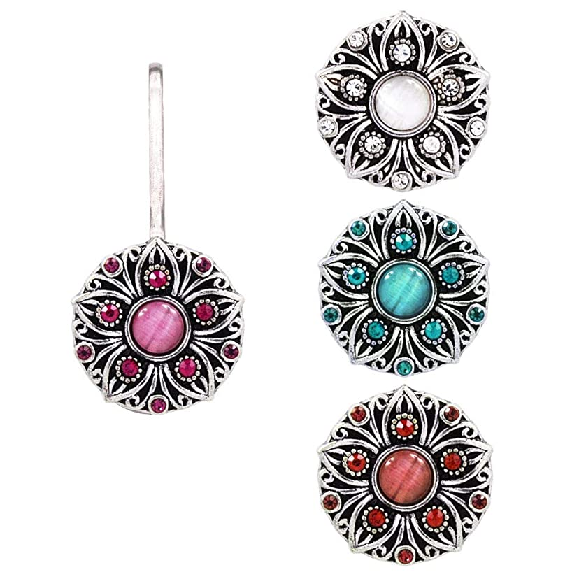 Ascrafter Sunflower Zipper Pull, 1 Rhinestones Zipper Charms Holder with 4 Replacement Snap Button