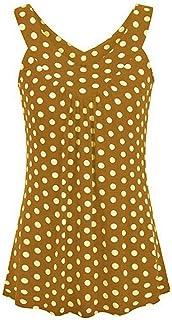 OULSEN Plus Size Women Blouse V Neck Sleeveless Tunics Tops Summer Casual Loose Wave Point Blouse Shirt Vest Tank Top