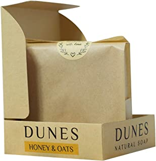 Dunes Honey & Oats Soap, handmade and 100% natural helps cool, detoxifies and treats oily skin. The tangy fragrance of lem...