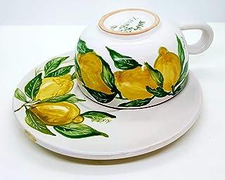 Tazza + Piatto Linea Limoni Realizzata e dipinta a mano Le Ceramiche del Castello Made in Italy dimensioni 16,5 x 7 centim...