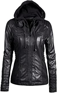 Toimoth Womens Faux Leather Zip Up Moto Biker Jacket Bomber Jacket Lapel Removable Zipper Outwear