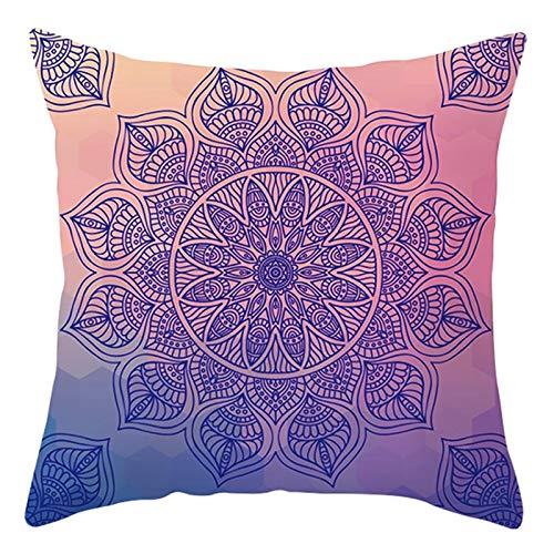 KnBoB Funda Cojin 50 x 50 cm Patrón Floral Mandala Poliéster Violeta Azul Estilo 34
