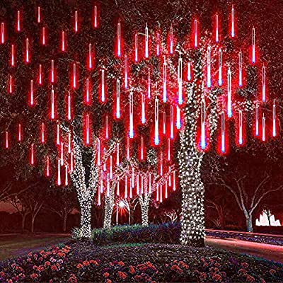 Hawiton Meteor Shower Lights Red, Outdoor Falling Rain Lights Waterproof- 30cm 8 Tubes 240 LED Icicle Lights Fairy Starbright Solar Led String Light for Christmas Wedding Party Patio Decor