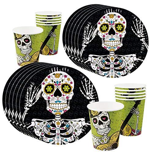 COM-FOUR® 24-teiliges Set aus Becher und Teller, Einweg Party-Geschirr für Halloween, Geburtstag, Day of the Dead Motto-Party (024-teiliges - Geschirrset Tag der Toten)
