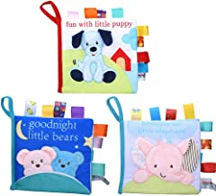 teytoy Soft Book, Soft Baby Books Crinkle Squeak Sound Sensory Early Education Baby My First Book Soft Baby Toy for Toddlers (3 Pack)