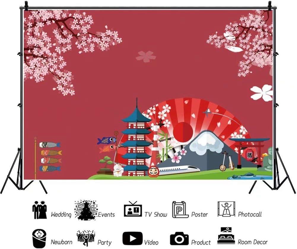 DaShan 14x10ft Japanese Style Backdrop Japan World Famous Landmark Photography Background Fuji Mountain Backdrops Indoor Decor Kids Japan Theme Birthday Party Art Protrait Photo Props