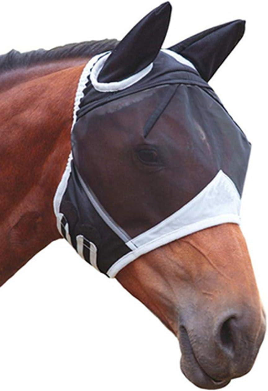 Máscara de mosca de malla fina con orejas respirable máscara de caballo anti mosquito para caballo negro y blanco L