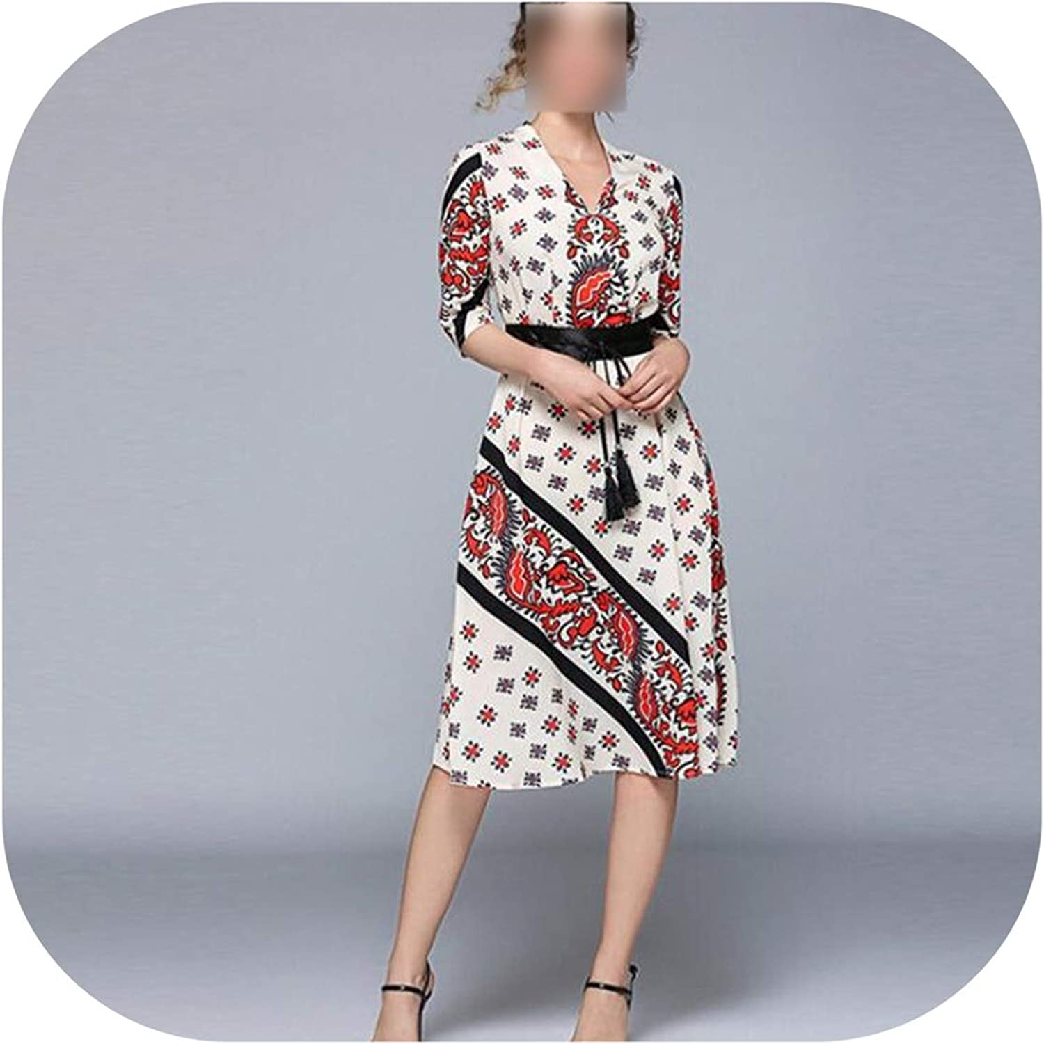 Retro Spring Women's VNeck Print Pattern Cropped Sleeves tie Waist Dress