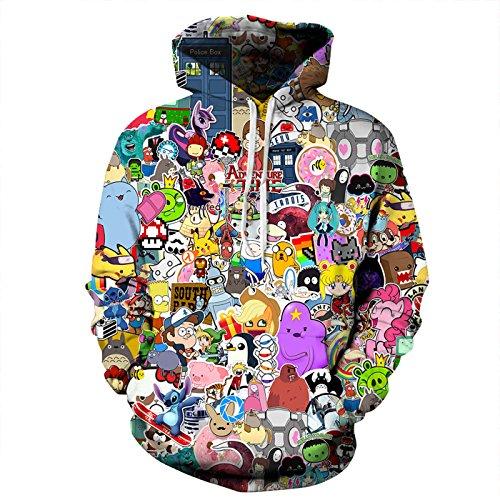 AMOMA Jungen Digitaldruck Kapuzenpullover Tops Fashion Hoodie Pullover Hooded Sweatshirt(Large/12-13 Jahren,Karikatur Zoo)