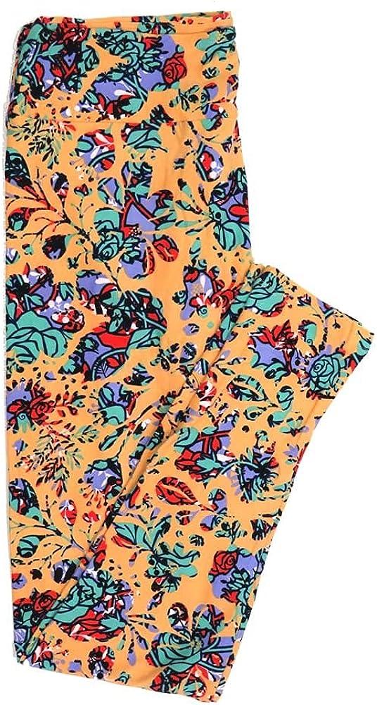 Lularoe Tall Curvy TC Roses Geometric Buttery Soft Womens Leggings fits Adults Sizes 12-18 TC-7355-R
