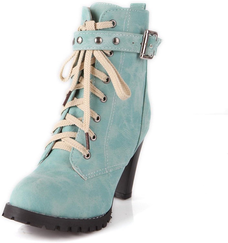 BalaMasa Womens Studded Rhinestones Metal Buckles Studded Rivet Imitated Leather Boots
