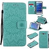 pinlu Flip Funda de Cuero para Samsung Galaxy Grand Prime (G530) Carcasa con Función de Stent y Ranuras con Patrón de Girasol Cover (Verde)
