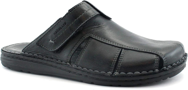 Grunland LAPO CI2130 Black Ciabatta Man Padded Leather Closed Toe 43