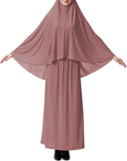 XINFU Muslim Islamic Women's khimar 2pcs Sets Soft Distinctive Prayer Dress Hijab Abaya Suit(10 Colors Available)