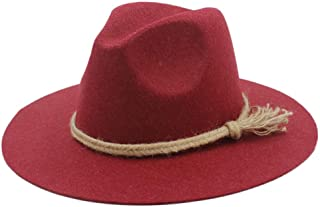 Fedora Cap Men Women Wool Fedora Hat Dance Party Hat Casual Wild Jazz Hat Adult Fascinator Church Hat Size 56-58CM Felt hat (Color : Red, Size : 56-58)