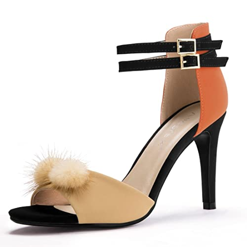 7b76ee3e060 Allegra K Women s Color Block Pom Pom Decor Heels Sandals