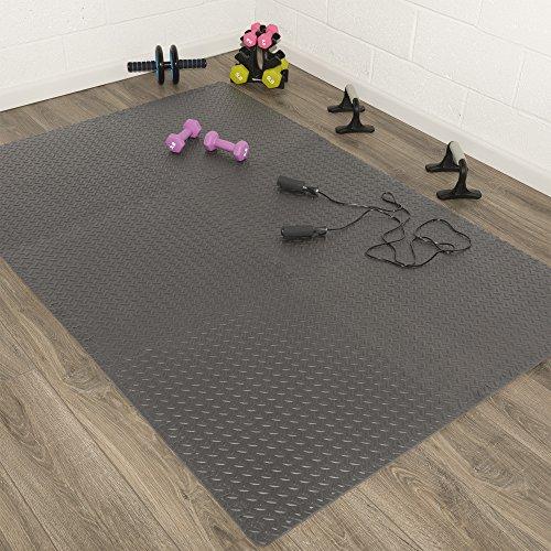 Silk Road Concepts Exercise Mat with EVA Foam Interlocking Tiles, 2' x 2', Black