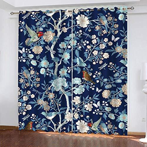 XKSJWY Cortinas Opacas Termicas Aislantes con Ojales 2 Piezas Cortinas Salon Dormitorio Modernas Decoración De La Ventana 300X270Cm 3D Pájaro Azul De La Planta Patrón Infantiles Cortinas