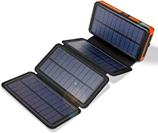 20000mAh Solar Charger with Dual 2.4A Outputs and Quick Charge Type C 3A Output/Input,Solar Power Bank with 4 Waterproof Foldable & Removable External Battery Pack,Works for Smartphone and More