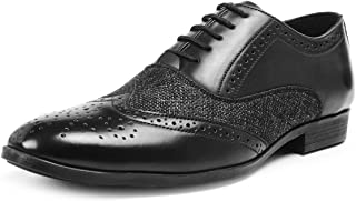 Bacca Bucci® Mens Wingtip Dress Shoes for Men Business Casual Shoes, Brogues Formal Shoes,Lace up Oxford Shoes-Black
