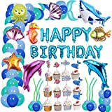 Ocean Animals Themed Balloon Birthday Party Supplies Fish Balloon Sea Animals Themed Backdrop Decorations For Your Tropical Fish Birthday Party Supplies With HAPPY BIRTHDAY Balloons Banner