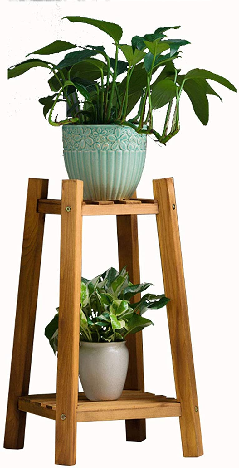 DLoob Plant Stand Rack Wood Shelf Flower Pots Holder Display Rack Coat Rack with 2-Tier Storage Shelves (Size   H 60CM)