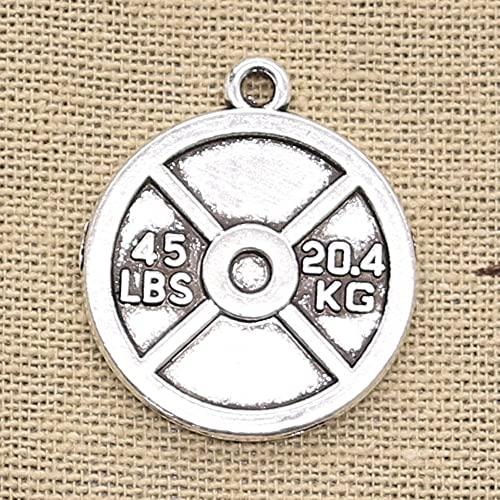 FZSWD 6 Piezas encantos Barbell Disco Peso 45 Libras 20 4 Kg 24X28 mm Colgantes de Color Plata de Bronce Antiguo DIY Haciendo Hallazgos Joyería Tibetana