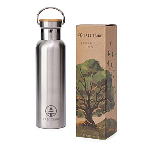 Tree Tribe Stainless Steel Water Bottle 600 ml - Indestructible, Insulated, Eco, Awesome