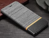 D-Kandy Official Cloth & Leather Flip Wallet Case Stand with Card Holder Denim