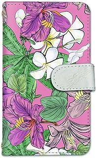 seventwo LG Q Style2 L-01L スマホケース 手帳型 携帯ケース ミラー付 エルジー キュー スタイル ツー 【C.ピンク】 バウヒニア プルメリア 花柄 flower_128