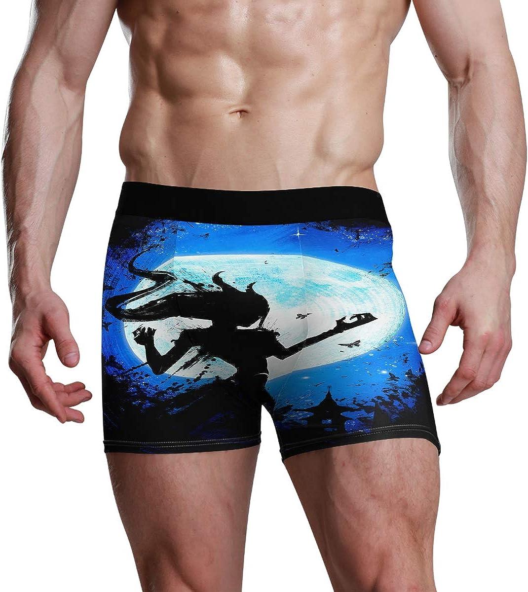 Men's Boxer Briefs Girl Werewolf in Motion Blue Bikini Underwear Stretch Trunks Boys Underpants
