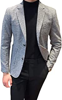 Houndstooth Grid Plaid Check Tuxedo Dogstooth Suit Business Dress Slim Fit Blazers Jacket Coat