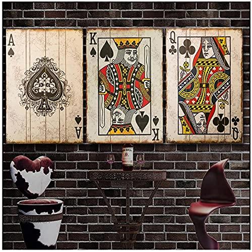 BINGJIACAI Vintage Poker jugando a las cartas lienzo pintura carteles e impresiones arte de la pared imágenes Bar Pub decoración del dormitorio del hogar-40x60cmx3 sin marco