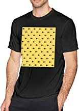 NCNET Men's Big Tall T-Shirt Printed Bee Crewneck Athletic Short Sleeve for Youth Adult S-6XL