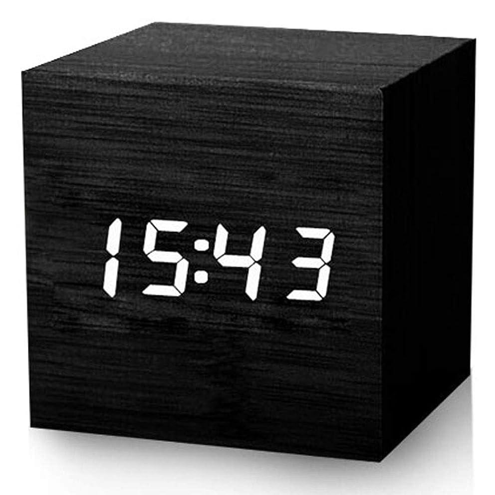 空いている形成感心するデジタルアラーム時計、ウッドLEDライトは時間日付温度キッズルーム、ベッドルーム、ホーム、寮、旅行を表示 (Color : ブラック)