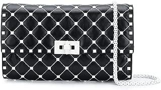 Valentino Black White Italy Rockstud Matelassé Leather Clutch Bag New
