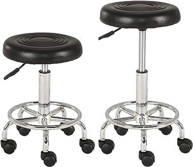 Injoy Life Tabourets de bar ronds à hauteur réglable en cuir PU avec roulettes pour maison, cuisine, bureau, salon, bar, noir