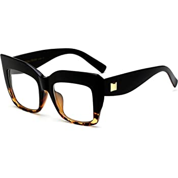 Zeelool Unisex Stylish Oversized Square Eyeglasses Frame with Non-prescription Clear Lenses Abigail VFP0169