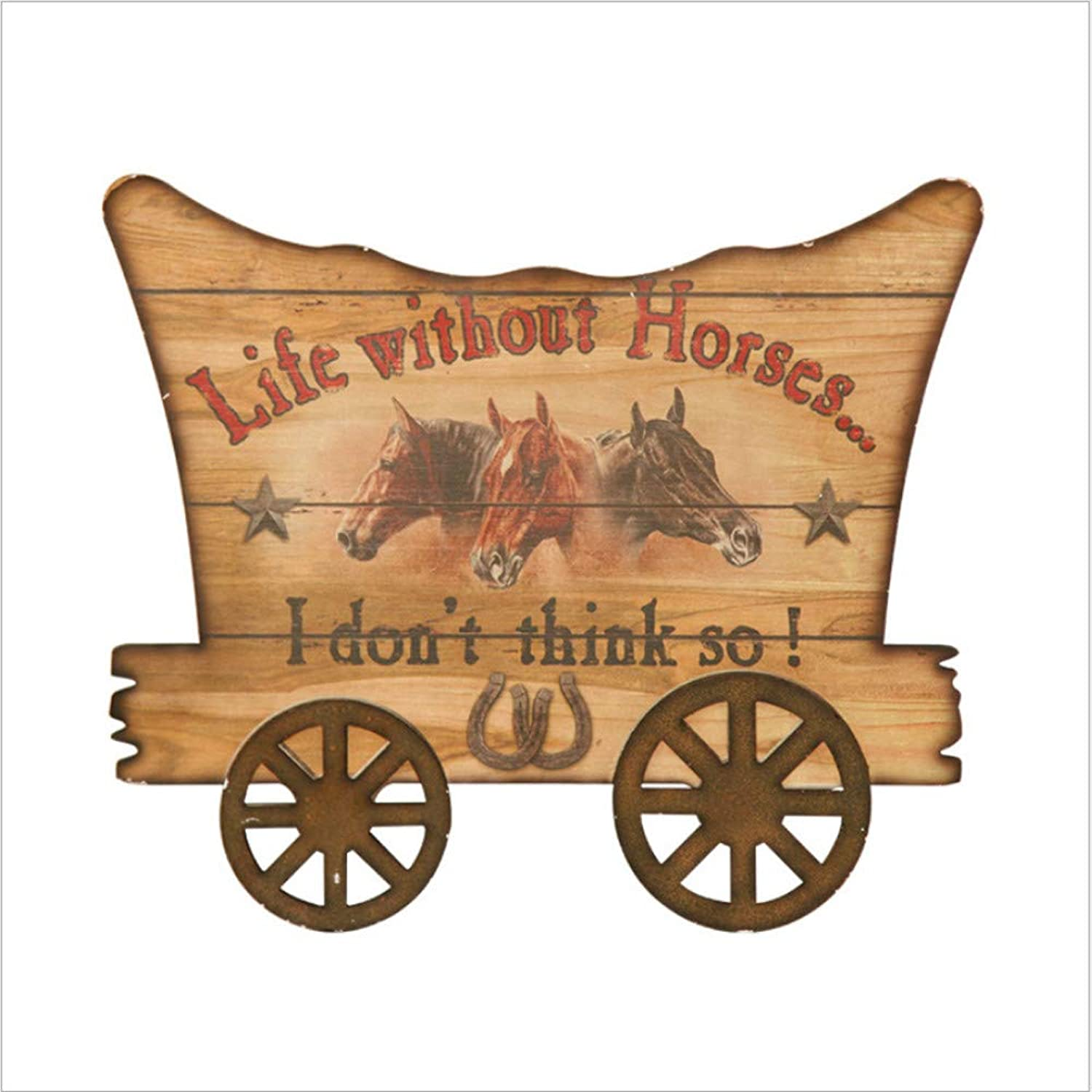 Wall Hanging Vintage Wood Painting, Handmade Wooden Horse Carriage Hanging Board