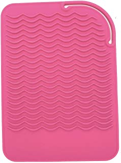 """Heat Resistant Mat for Curling Irons, Hair Straightener, Flat Irons and Hair Styling Tools 9"""" x 6.5"""", Food Grade Silicone, Pink"""