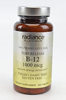 Radiance Platinum 100% Preservative Free Vitamin B-12 1000 MCG Supports Energy Metabolism VEGAN DAIRY FREE GLUTEN FREE Die...