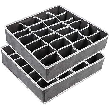 Yorgewd Cajonera organizadores – 2 unidades, separadores plegables para armario, organizadores de armario, caja de almacenamiento para calcetines, corbatas, ropa interior (gris oscuro): Amazon.es: Bricolaje y herramientas